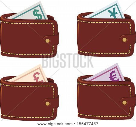 Four brown wallet full currency with dollar, euro, pound sterling, yen on white background.