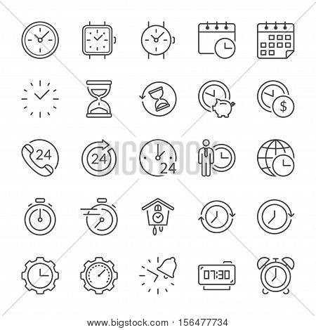 time and clocks thin line icon set black color isolated