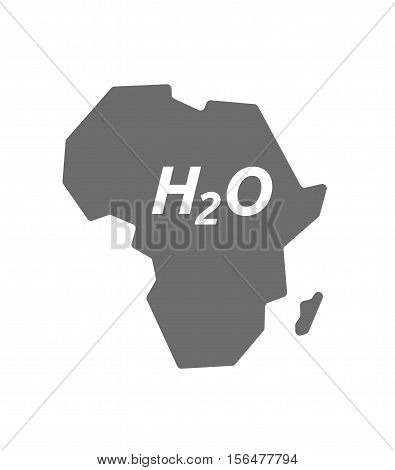 Isolated Africa Map With    The Text H2O