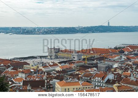 View of Lisbon from the Castle of St. George on a cloudy day