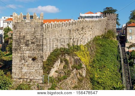The old city wall in Porto in Portugal