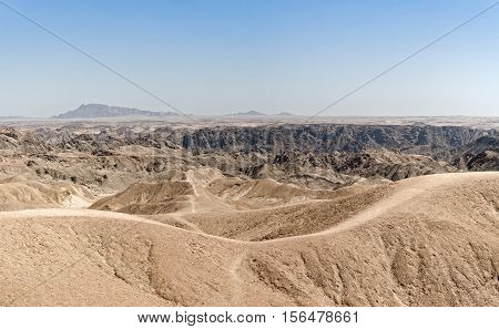 Panoramic view over the lunar landscape at Swakopmund, Namibia