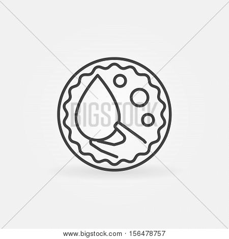 Blood donation outline badge. Vector minimal round blood donor concept sign in thin line style. Hand holding blood drop symbol