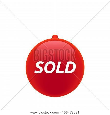 Isolated Christmas Ball With    The Text Sold