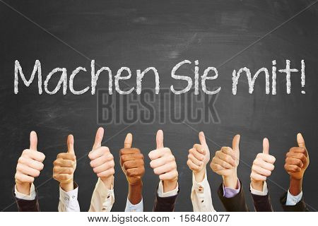 Many business hands with thumbs up as teamwork with german words