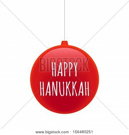 Isolated Christmas Ball With    The Text Happy Hanukkah