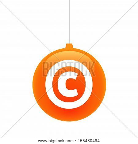 Isolated Christmas Ball With    The  Copyright Sign