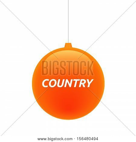 Isolated Christmas Ball With    The Text Country