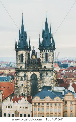 View over Church of Our Lady before Tyn in the Old Town Square in historic center of Prague from the Old Town Hall Tower