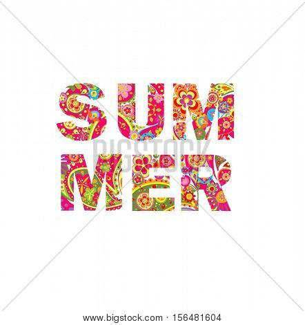 Floral print with summer lettering