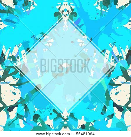 Template with semi-transparent white square over bright blue colorful artistic paint splashes ready for your text.