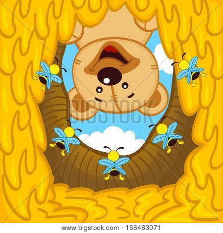 teddy bear looks into  hive with bees - vector illustration, eps