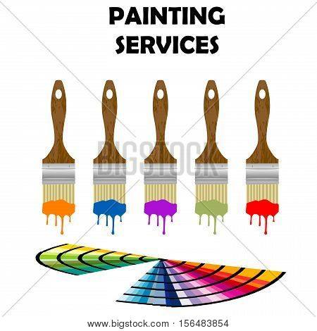 Painting paintbrushes and color samples on white background