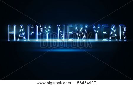 Blue glowing neon light with New Year concept on gradient blue background