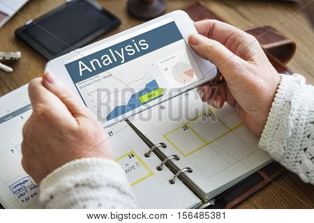 Business Strategy Graph Analysis Marketing Concept