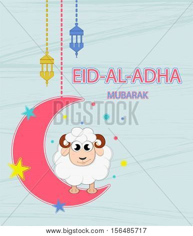 Festival of sacrifice Eid-Ul-Adha. Lettering translates as Eid Al-Adha (feast of sacrifice). Greeting card. Moon stars and lanterns.