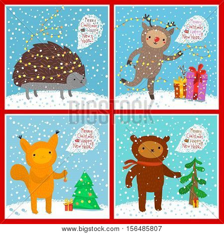 Holiday illustration with a cute animals. Squirrel, bear, deer, hedgehog. Christmas card with nice cartoon characters. Winter greeting card.