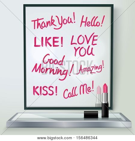 Pink red glossy lipstick words of love and affection in black frame on shelf realistic  image vector illustration