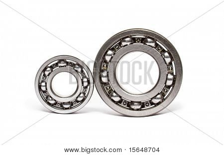 two ball-bearings isolated on white