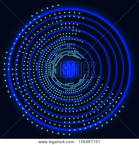 eyeball future technology, colored light, blue cyber security concept background