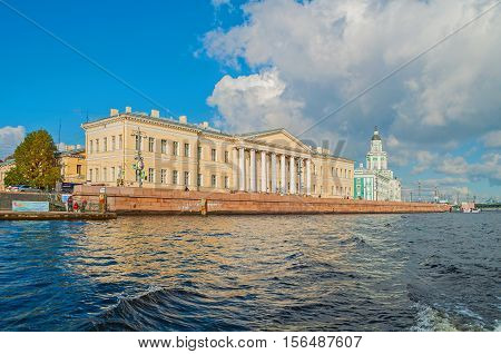ST PETERSBURG RUSSIA - OCTOBER 3 2016. Architecture panorama of St Petersburg - buildings of the St Petersburg Academy of Sciences and Kunstkamera on Vasilevsky Island in St Petersburg Russia