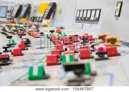 control panel at a nuclear power plant close-up