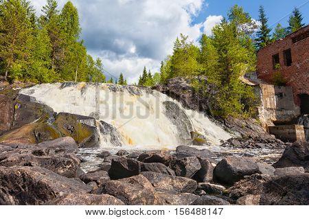 Russia Karelia. An old dam at the road Sortavala-Vyartselya