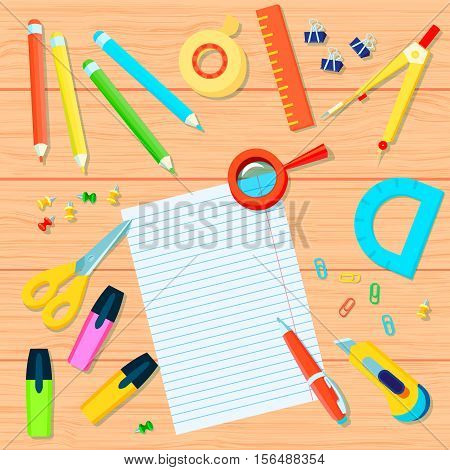 Office supplies background with pencils tape ruler pushpins markers protractor pen scissors compass paperclips magnifier paper vector illustration