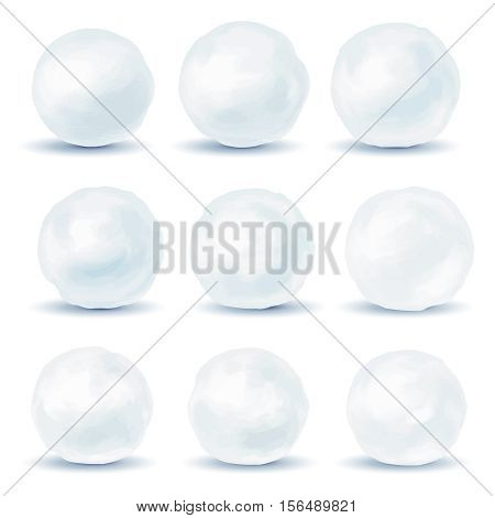 Set of snowball icons isolated on white background. Vector illustration poster