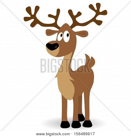 Cute deer fawn cartoon vector illustration isolated on white background