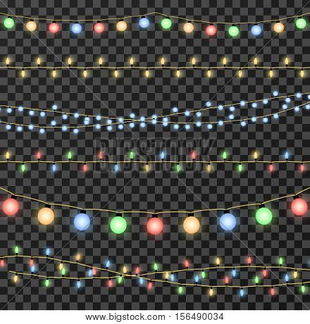 Vector christmas garland lights isolated on transparent background. Decoration garland for party, lamp garland on string for event illustration