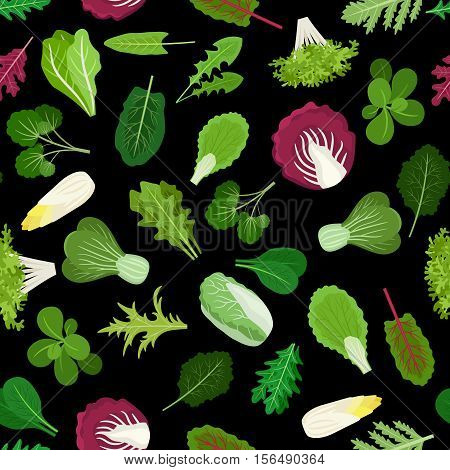 Salad green vegetables lettuce leaves and herbs background. Vector illustration
