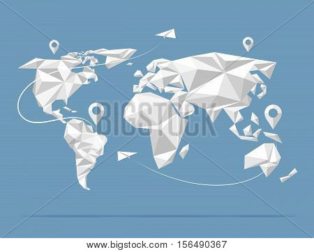 Low poly world map. Earth atlas isolated on background. Vector illustration