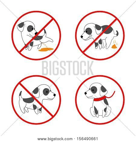 Dog signs. No dog, no pissing dog, no dog pooping. Set of banned signs for animal. Vector illustration