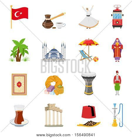 Turkey flat colored icons set with historical landmarks flag and elements of national culture and traditional clothes isolated vector illustration
