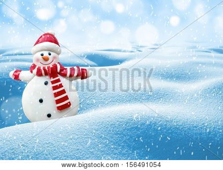 Winter background. Festive template for congratulations with cheerful snowman.
