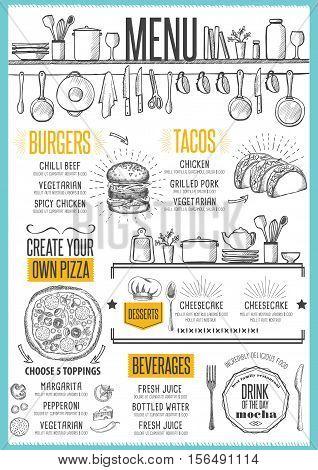 Cafe menu food placemat brochure restaurant template design. Creative vintage brunch flyer with hand-drawn graphic.