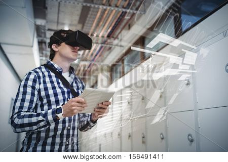 interface against student in virtual reality headset using digital tablet in locker room