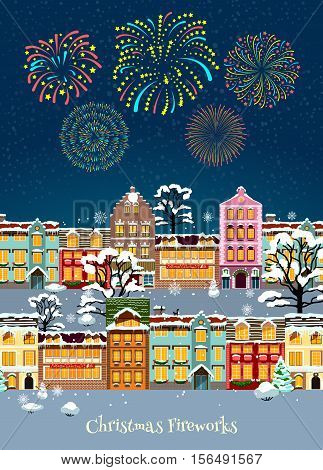 Colorful Christmas celebration template with glowing sparkling fireworks and snowbound cityscape vector illustration