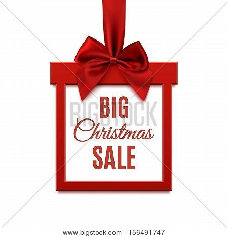 Big Christmas sale, square banner in form of gift with red ribbon and bow, isolated on white background. Brochure, greeting card or banner template. Vector illustration.