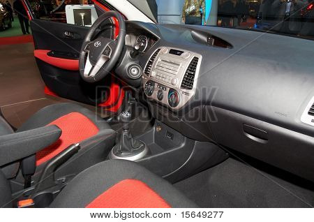 PARIS, FRANCE - OCTOBER 02: Paris Motor Show on October 02, 2008, showing Hyundai i20, interior view