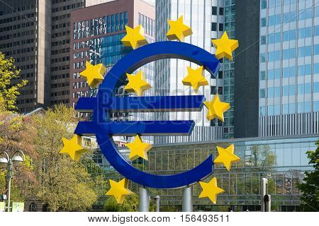 Frankfurt Germany - May 1 2016: Euro sign in Frankfurt am Main Germany. Frankfurt is the largest city in the Germany state of Hesse