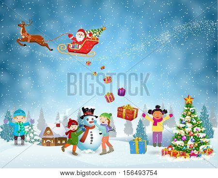 Happy new year and merry Christmas landscape card design. Winter fun. Children building snowman. Winter holidays. Santa Claus sleigh fly over the forest, house, snowman and throws gifts.