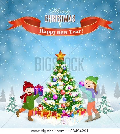 happy new year and merry Christmas greeting card. Winter fun. kids decorating a Christmas tree. Winter holidays. vector illustration