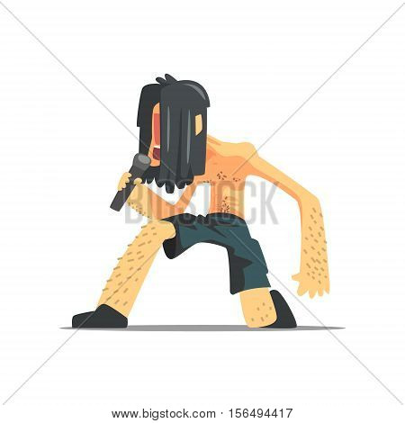 Lead Singer Rock Band Member Funny Character. Graphic Design Cool Geometric Style Isolated Illustration On White Background
