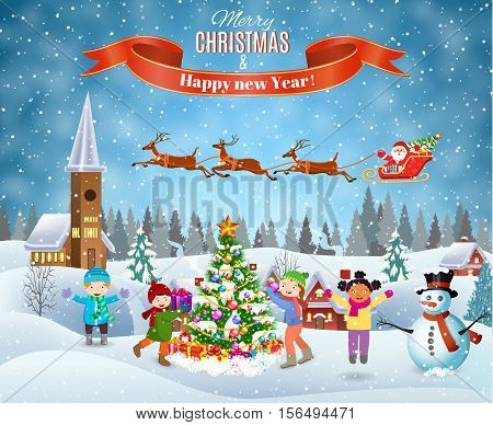 Happy new year and merry Christmas landscape card design. Winter fun. kids decorating a Christmas tree. Winter holidays. Santa Claus with deers in sky above the house. vector illustration