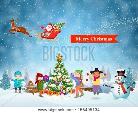 Happy new year and merry Christmas landscape card design. Winter fun. kids decorating a Christmas tree. Santa Claus sleigh fly over the forest, house, snowman and pulled merry christmas banner