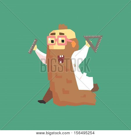 Funny Scientist In Lab Coat With Long Bead Running. Character Drawing On Green Background In Cool Geometric Style
