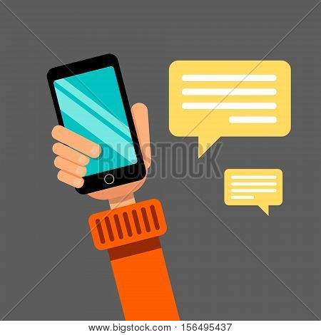 Hand holding smartphone. Communication via social networks and browsing websites. Flat design. Stock vector illustration.