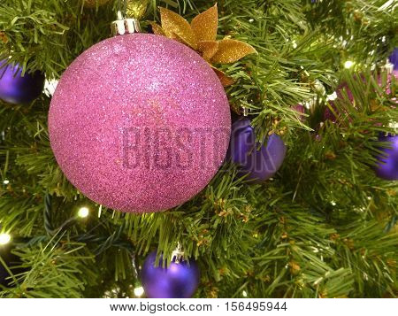 Christmas Tree Docoration With Colorful Balls